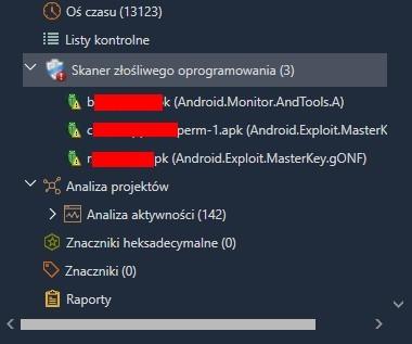 Wykaz wykrytych aplikacji szpiegowskich w badanym telefonie.