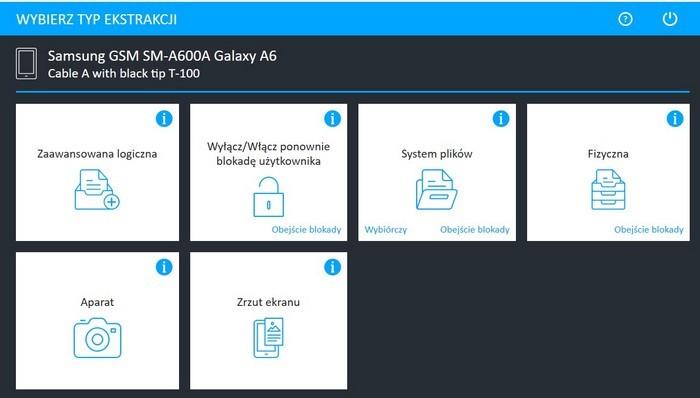 odczyt informacji skasowanych w telefonie Samsung Galaxy A6systemem UFED 4Pc
